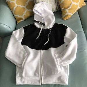 Black and White Sweater with Front Zipper